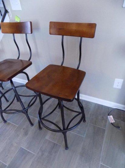 Wood Seat With Metal Base Bar Stool