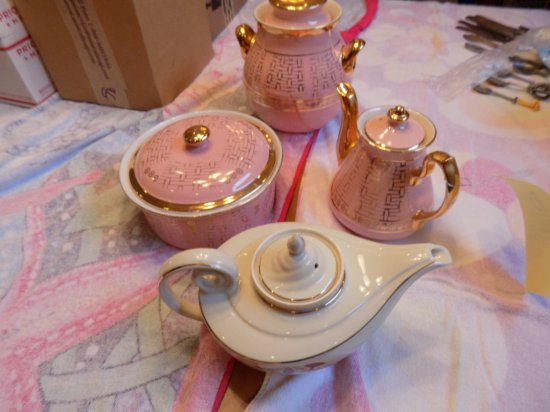 Hall china cookie jar, covered dish, (2) teapots