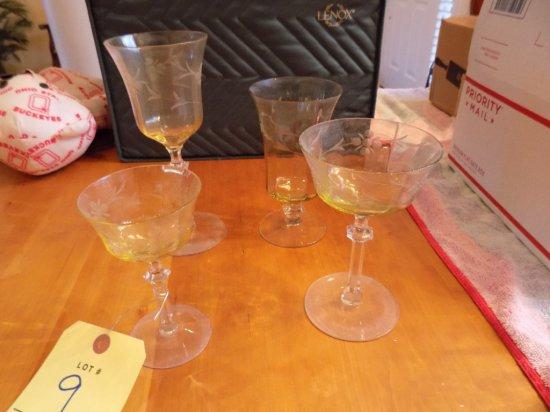 Antique lemon crystal glasses & tumblers