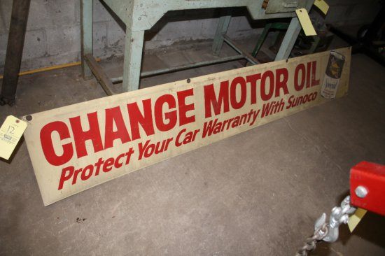 Metal 8' Double Sided Motor Oil Sign w/ Sunoco Sticker