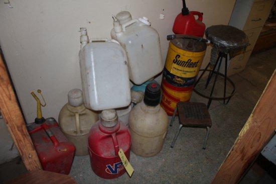 Assorted Plastic Fuel Cans & Stools