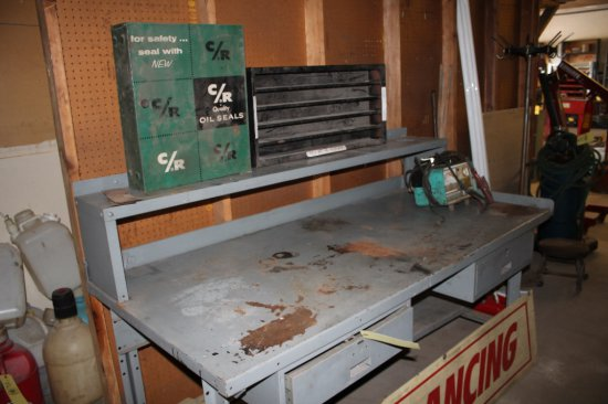 Metal 6' Shop Bench w/ (2) Small Shelves & Battery Charger