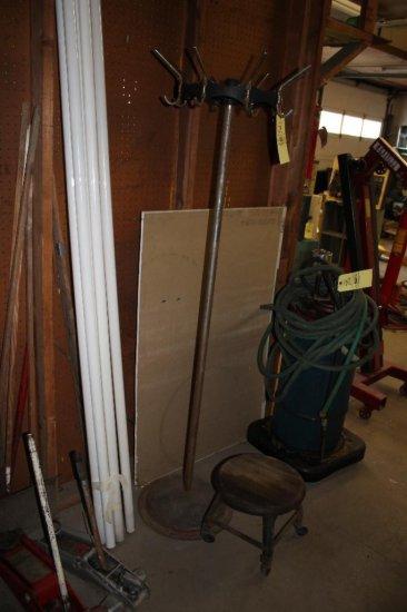 Vintage Coat Rack & Mechanics Stool