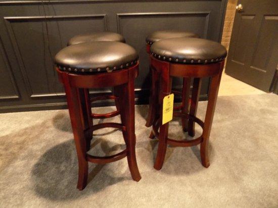 (4) Leather top swivel bar stools