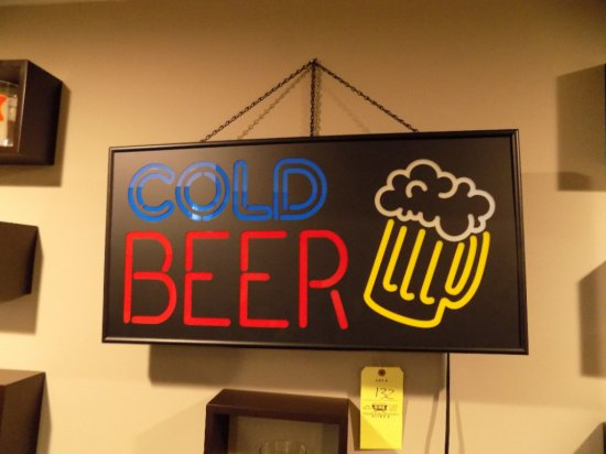 Lighted up beer sign