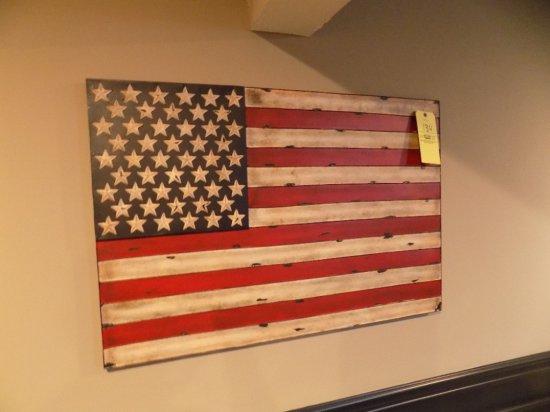 Metal American flag wall art