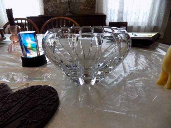 Lead glass bowl and (2) candles