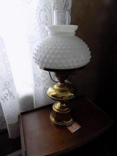 Brass lamp with milk glass shade