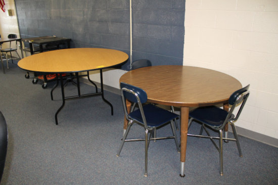 2 Round Tables and 3 Chairs