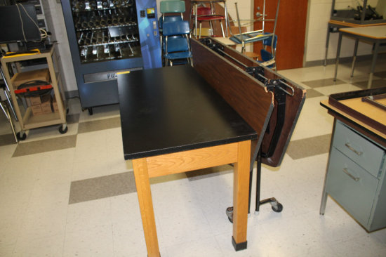 Lab Table and Folding Round Table