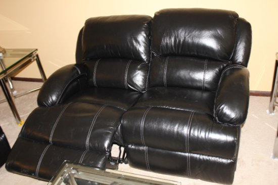 Black Leather Recliner & Reclining Love Seat