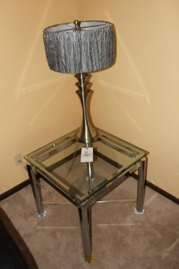 (3) Modern Lamps, (2) Glass Top End Tables & (1) Coffee Table