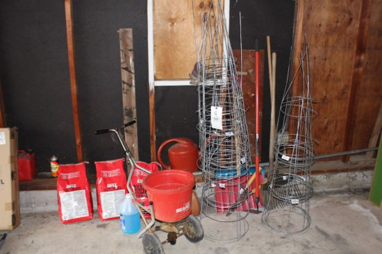 Tomato Cages, Spreader, Yard Tools
