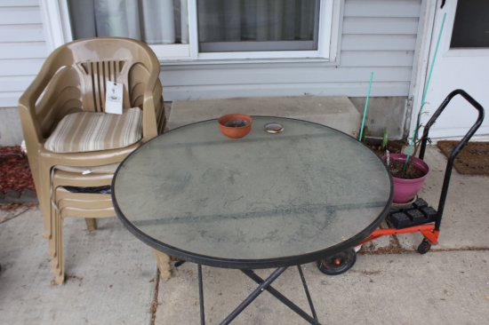 (5) Plastic Stack Chairs, Patio Table, Four Wheel Dolly