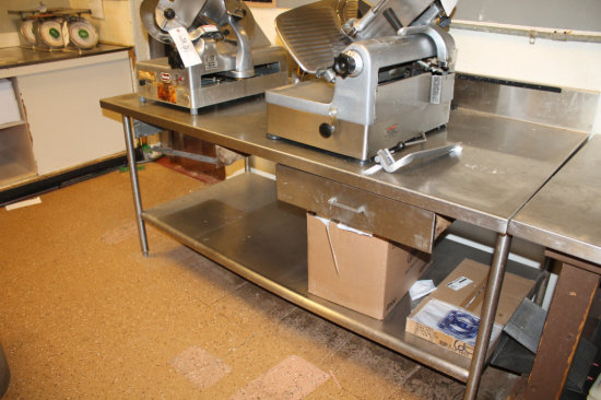 Two-tier 6ft stainless steel prep table