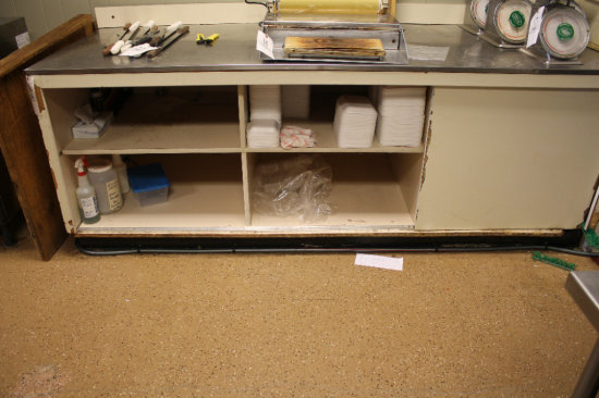 8ft stainless-steel top counter w/ storage base