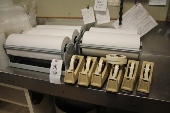(5) freezer paper rollers & (6) 3M tape dispensers w/ extra tape