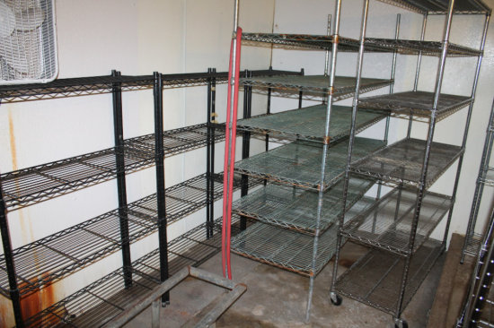 (10) adjustable wire shelving units