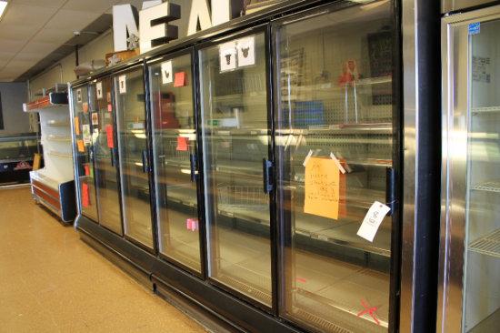 16ft six-door glass meat cabinet w/ external compressor