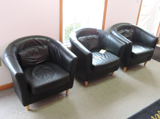 (3) Curved Back Waiting Room Chairs
