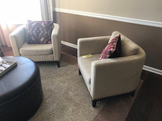 "30"" wide barrel-back upholstered arm chair"