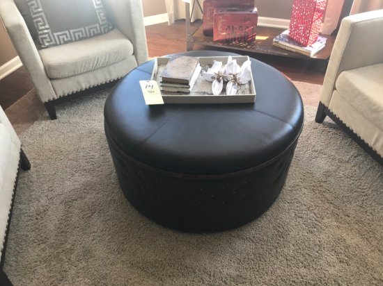 """34"""" round leather ottoman on casters, w/ serving tray, decor"""