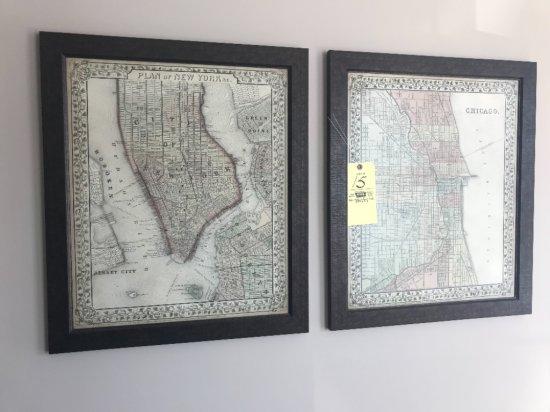 Map prints New York, Chicago