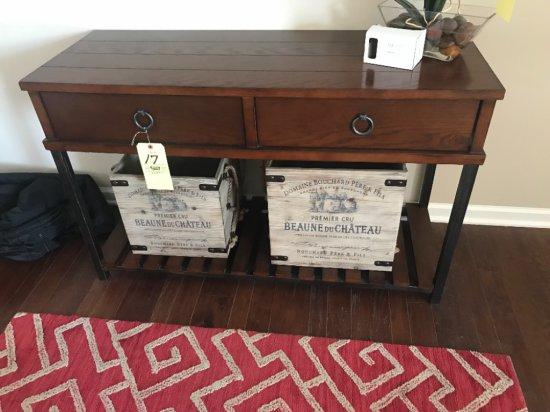 "2-drawer metal base sofa table 44"" wide"