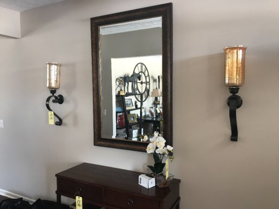 """Gold framed mirror 30""""w, 2 wall sconces"""