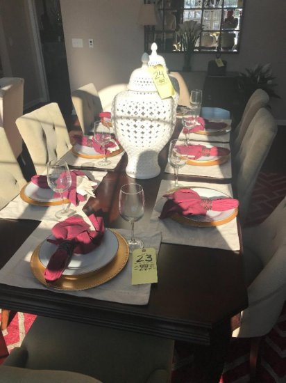 8 place settings, charger, plate, napkin, wine glass