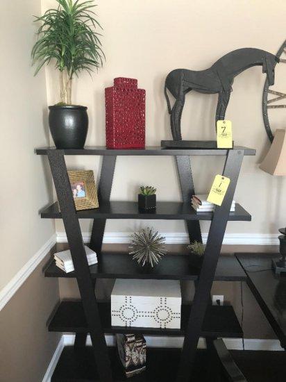 Contents of bookshelf, decor