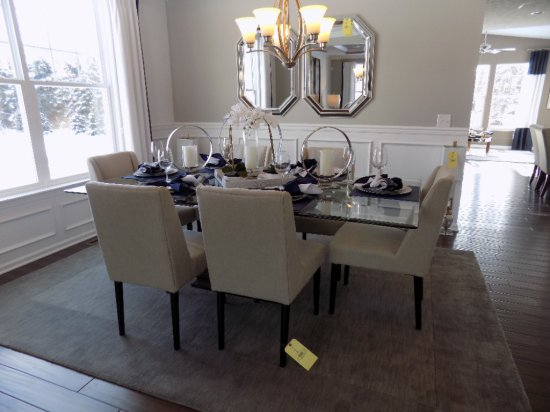 Glass-top dining room table with (6) chairs