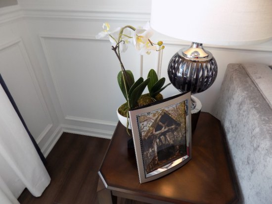 Artificial plants, bowl, books, and picture frames