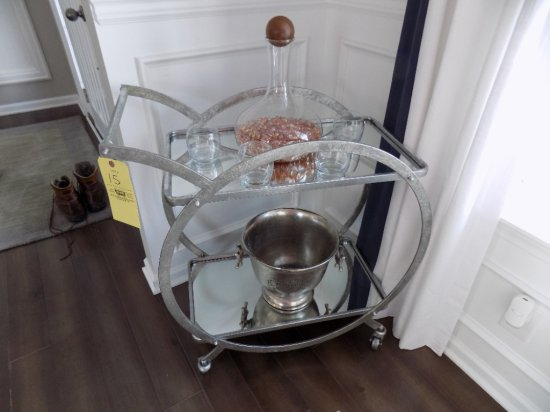 Metal framed tea cart with ice bucket and vase