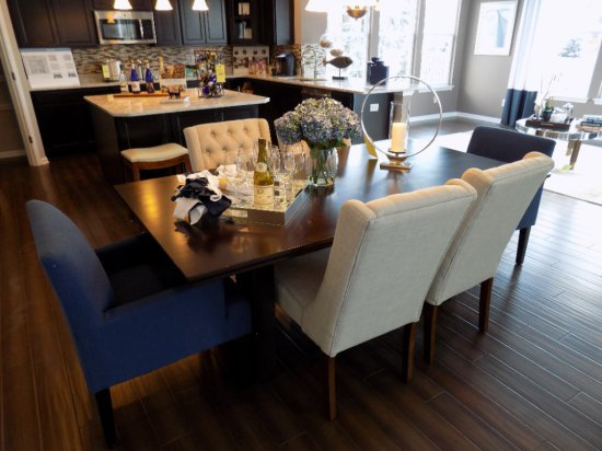 Coaster dining room table with (6) upholstered chairs