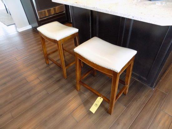 Pair of nail-head trim stools