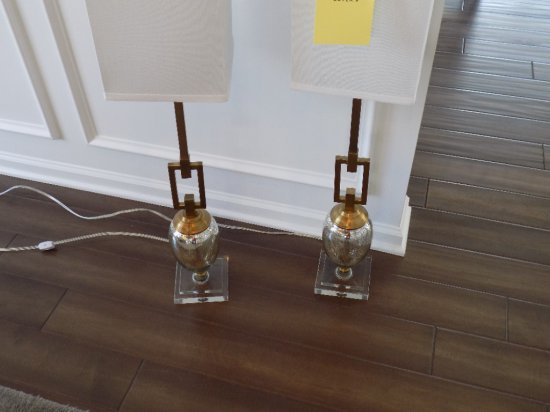 Pair of gold trimmed table lamps