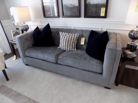 Two-cushion sofa with accent pillows
