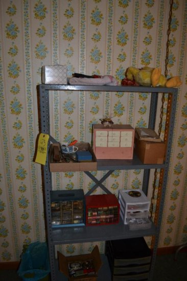 Metal Shelf w/ Sewing Items