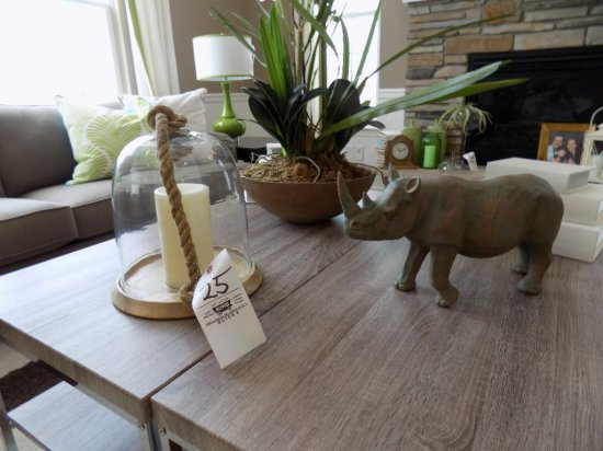 Rhino Sculpture, Candle Holder, Centerpiece, and Storage Boxes