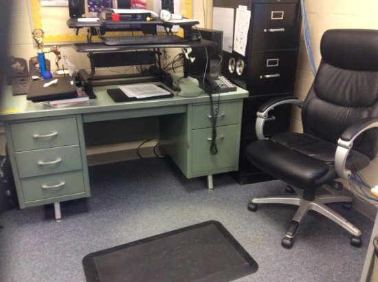 Metal desk, metal filing cabinet and office chair. Contents not included