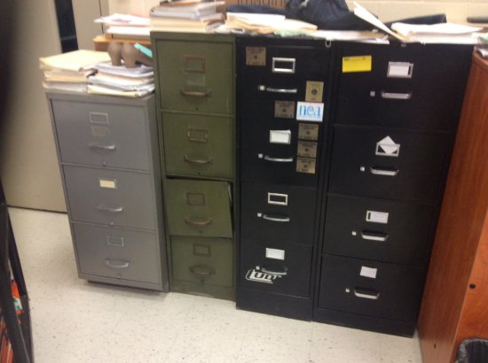 4 Metal filing cabinets, wooden cabinet, small desk