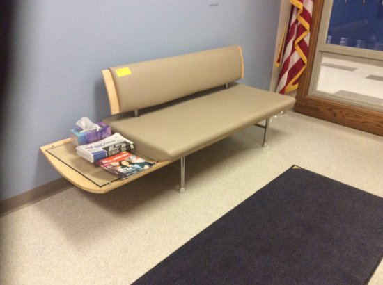 Two modern waiting room benches
