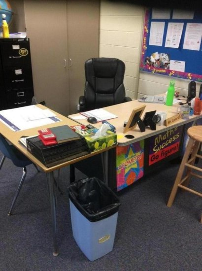 Teacher's desk, side table and chair (contents not included)