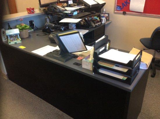Corner desk and metal filing cabinet