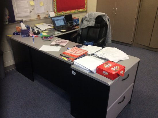 Teacher's desk, side cabinet and chair. Contents not included