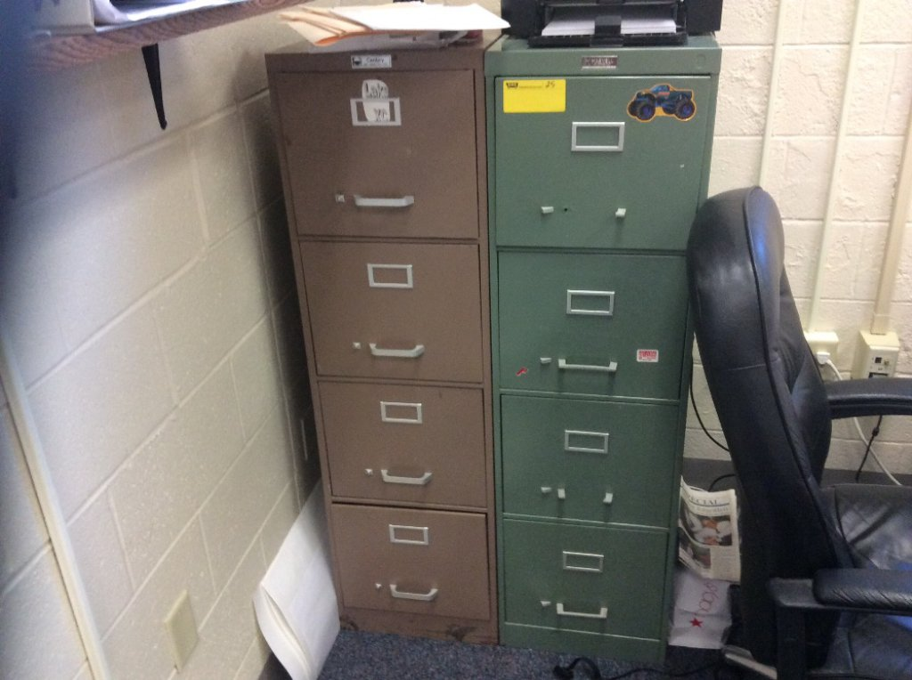 Two large filing cabinets and one small filing cabinet