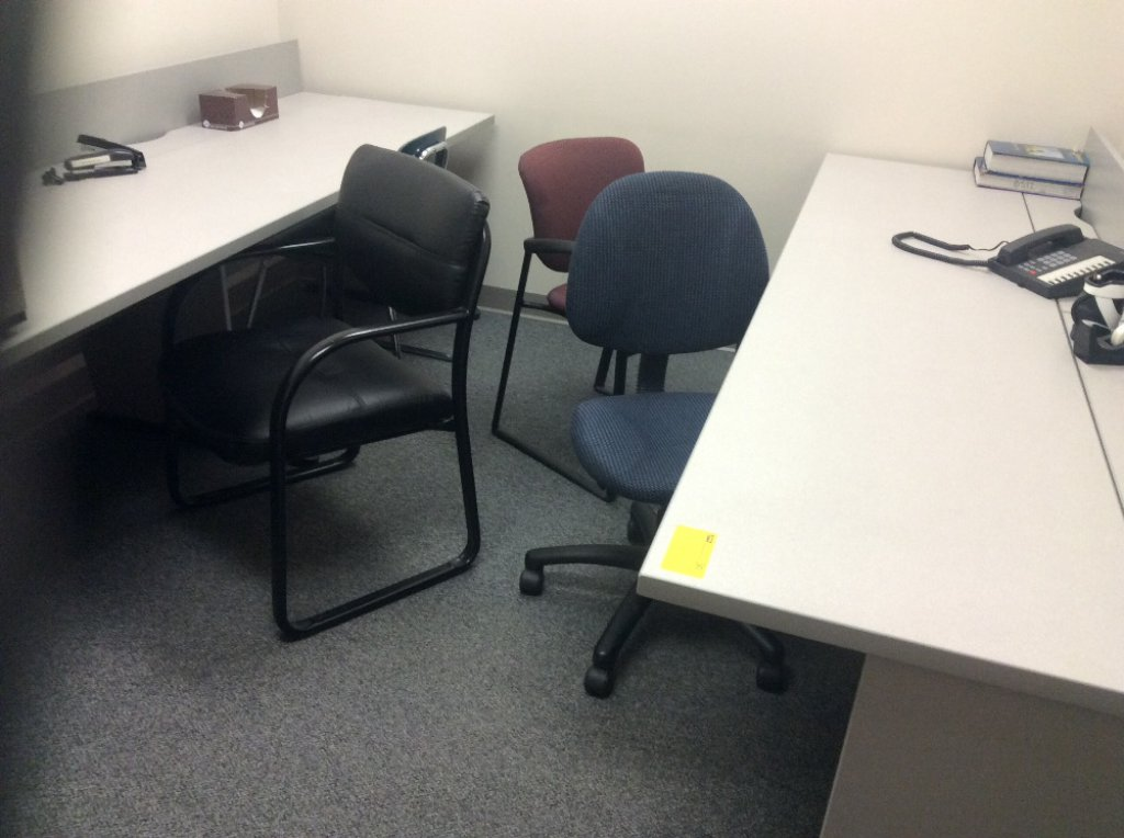 Two computer tables & four desk chairs