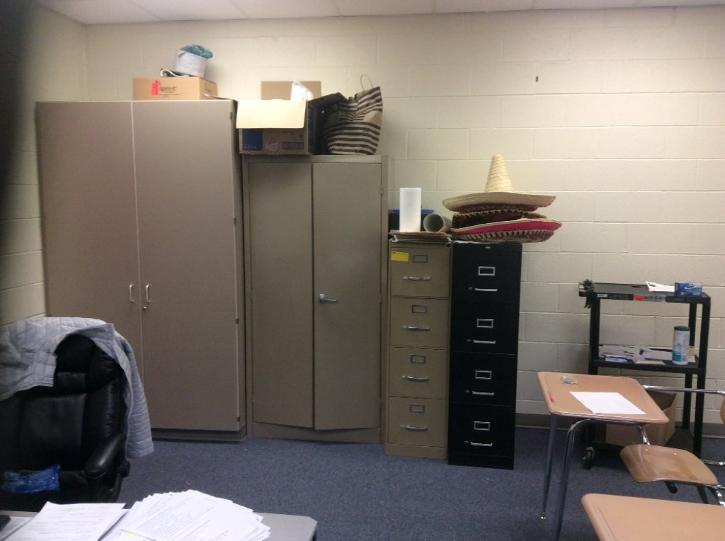 Two metal cabinets, two file cabinets & an AV cart. Contents not included