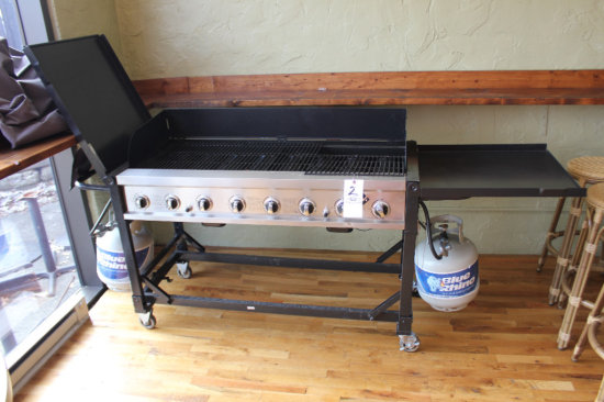Two Tank Propane Portable grill on wheels
